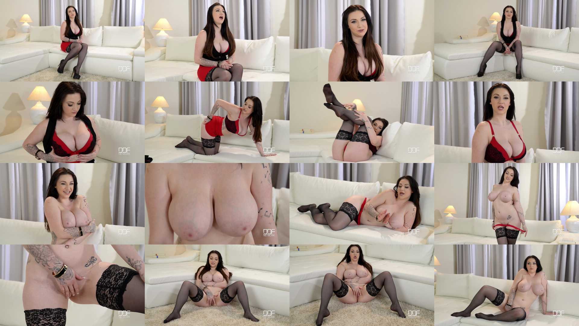 Harmony Reigns in Harmonic Couch Experience: Brunette Teen Shows Off Tits And Pussy